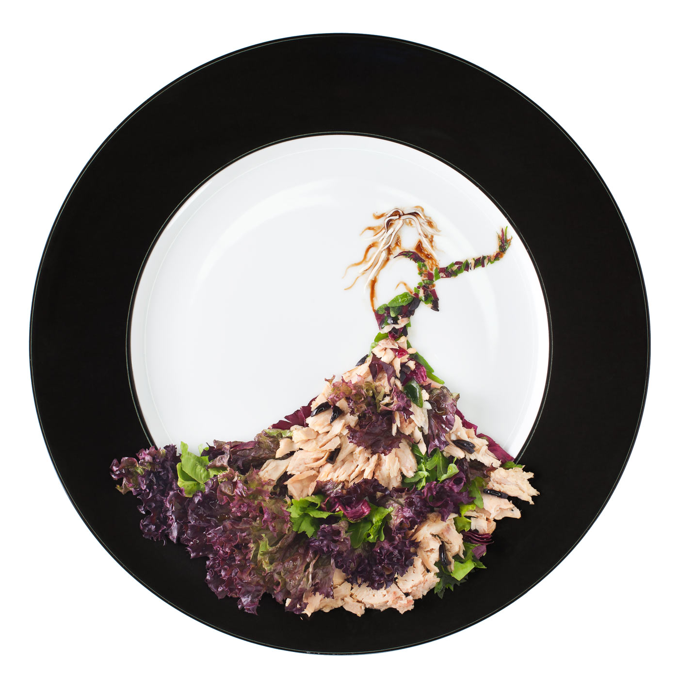 Fashion food, tuna salad in form of the Jean Paul Gaultier camouflage dress