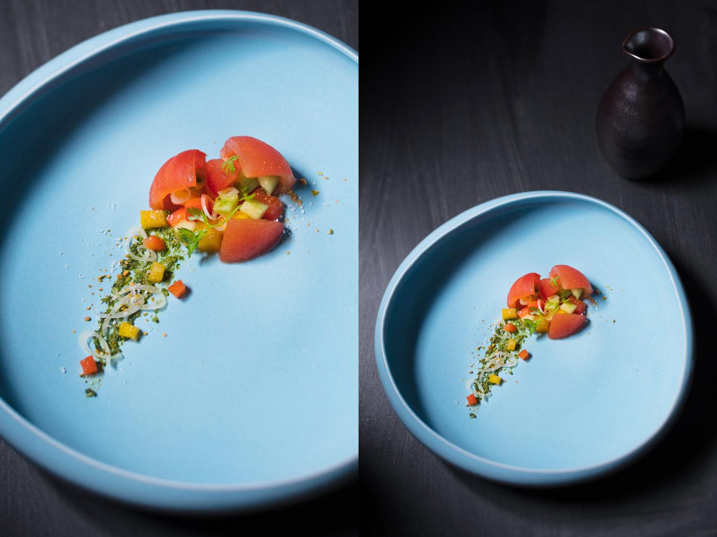 Recipe image, tomato salad with basil pesto