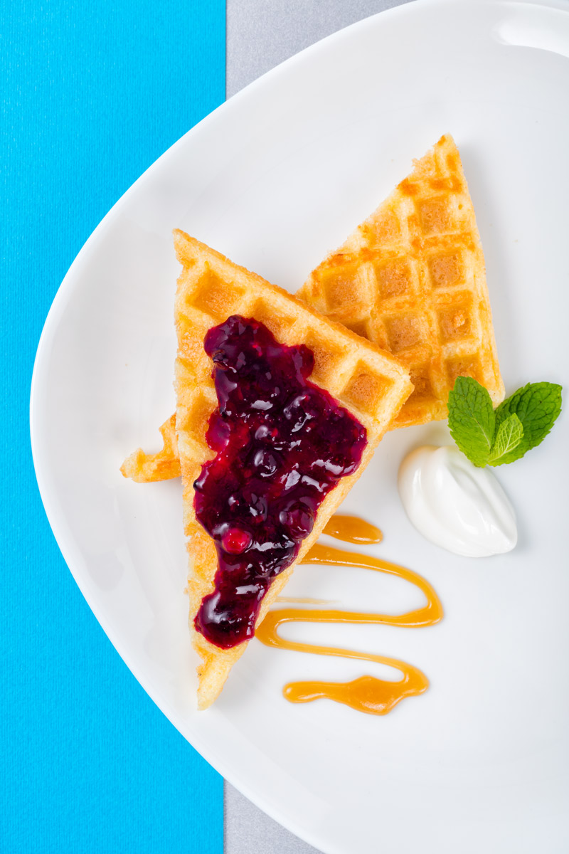 Breakfast plate with wafles and jam