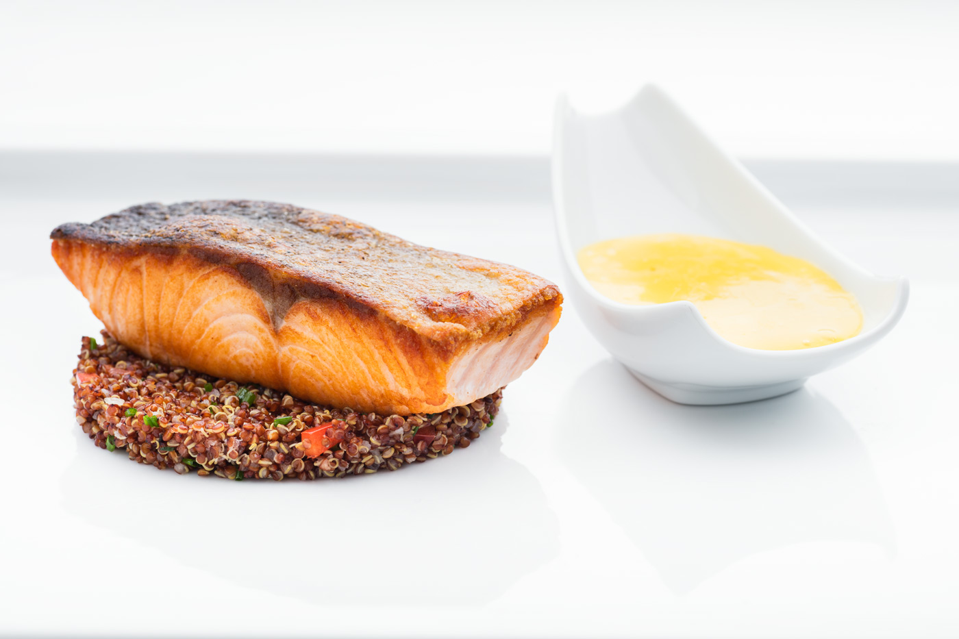 Plate with salmon steak on lentils