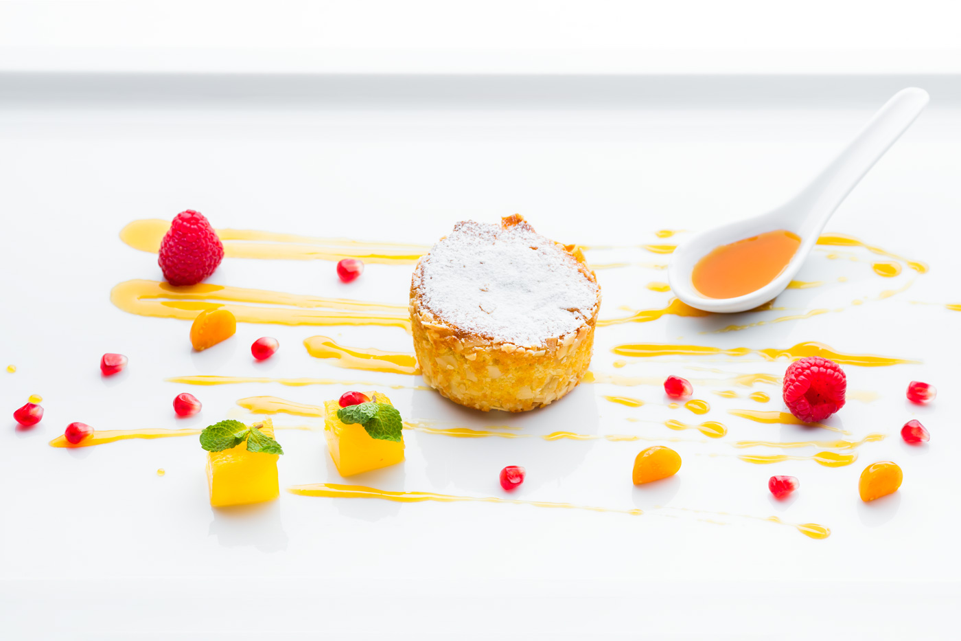 Plate with desert, cake and fruits