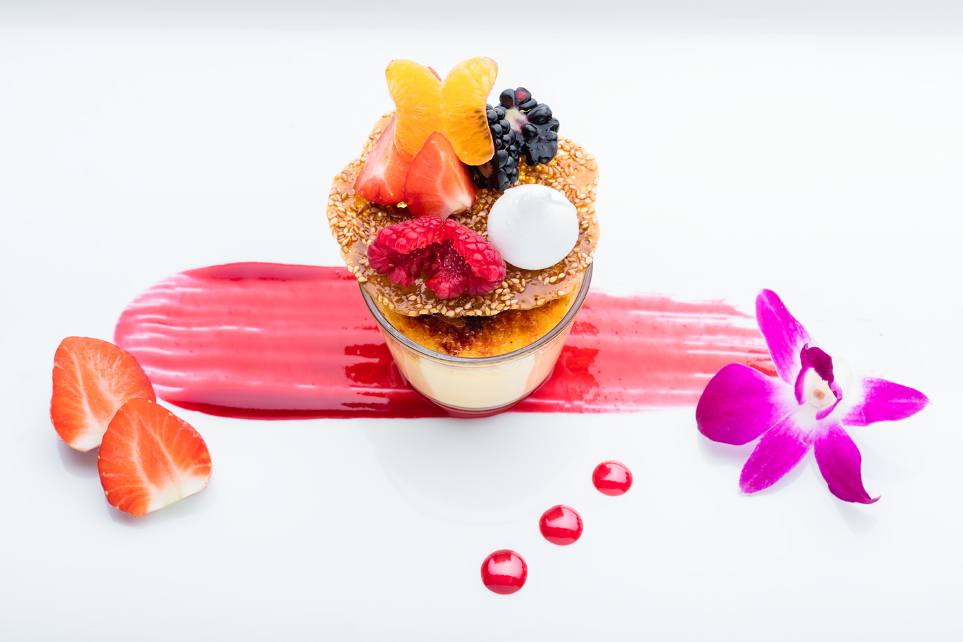 Plate with desert, creme brulee with fruits