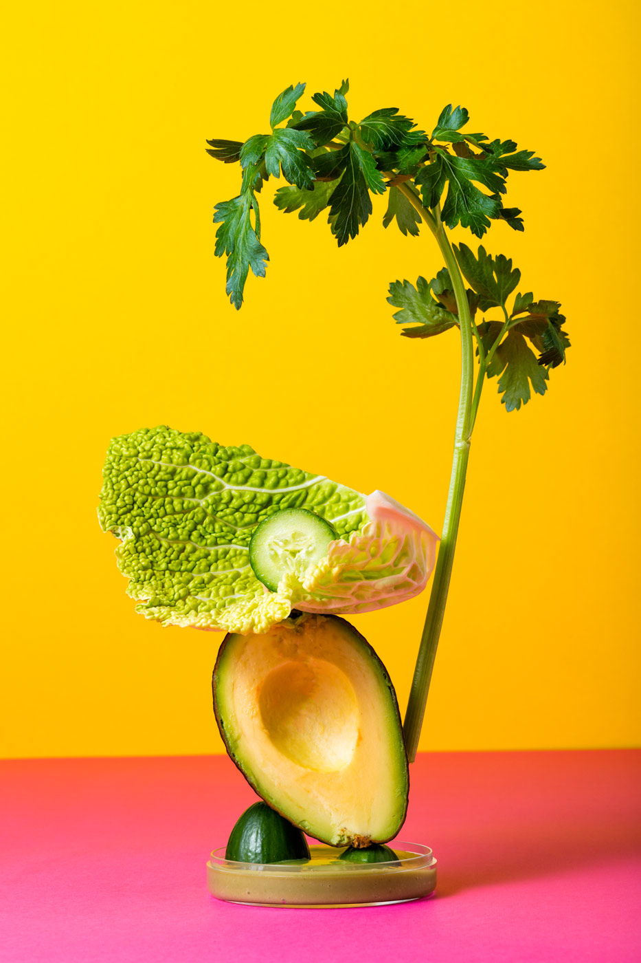 Smoothie sculpture, avocado, cucumber, cabage and parsley