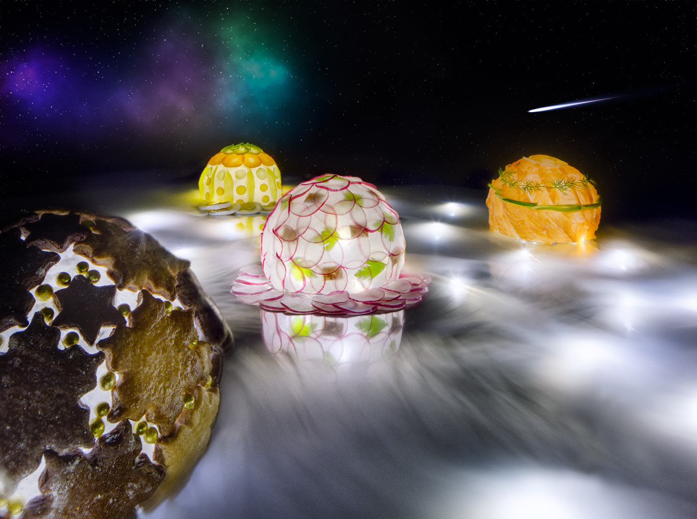Landscape made out of food, spheares of cookies, raddish salad, salmon and potato salad floating through outer space