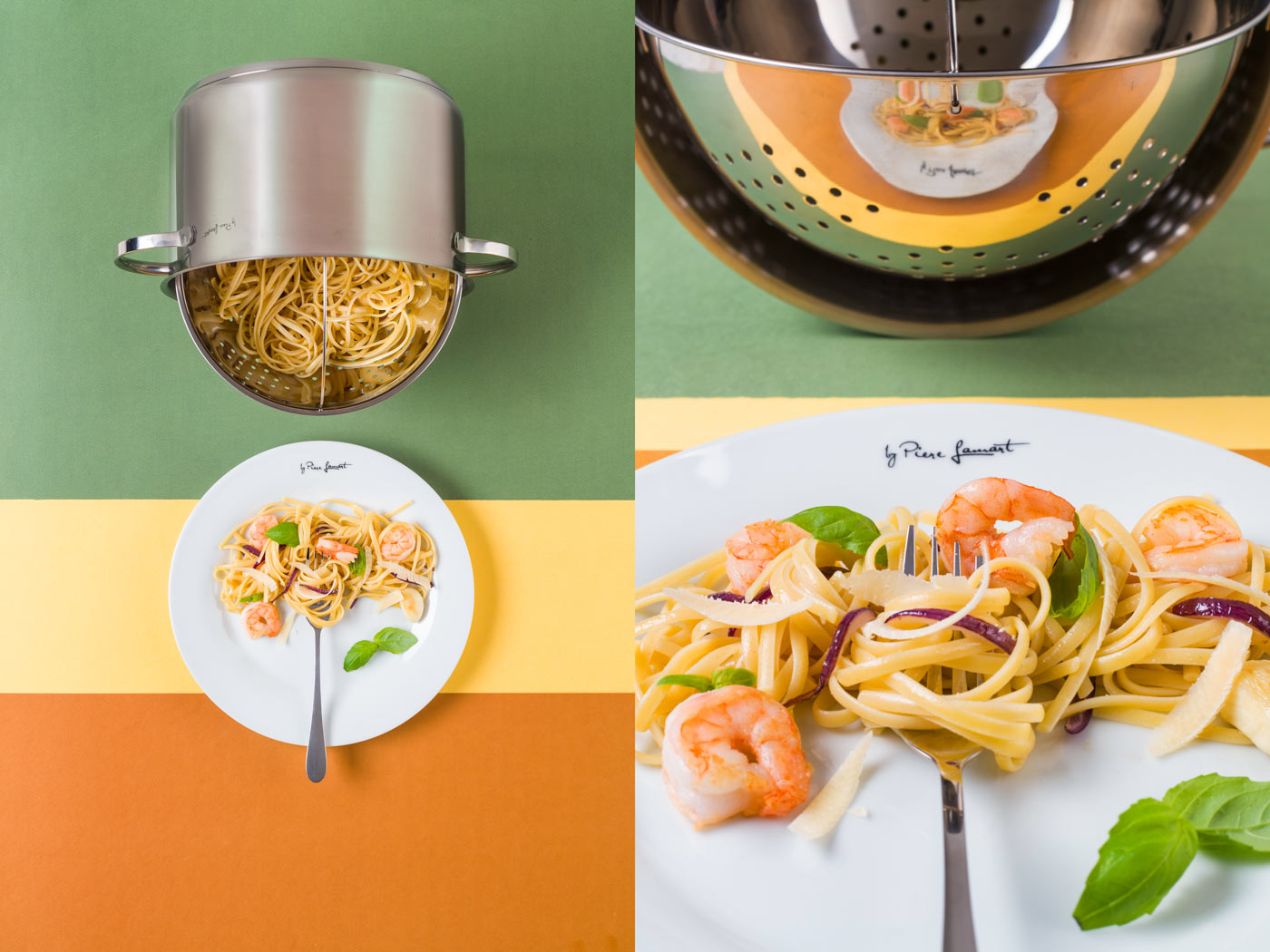 Recipe image of pasta with shrimp promoting the Lamart brand cookware