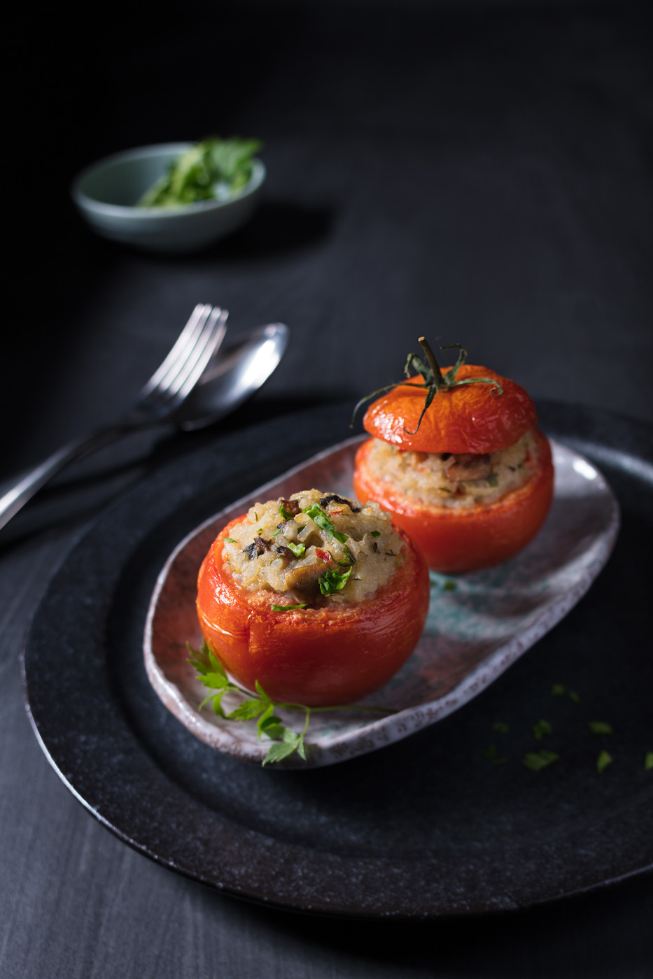 Recipe image, baked tomatos filled with rice