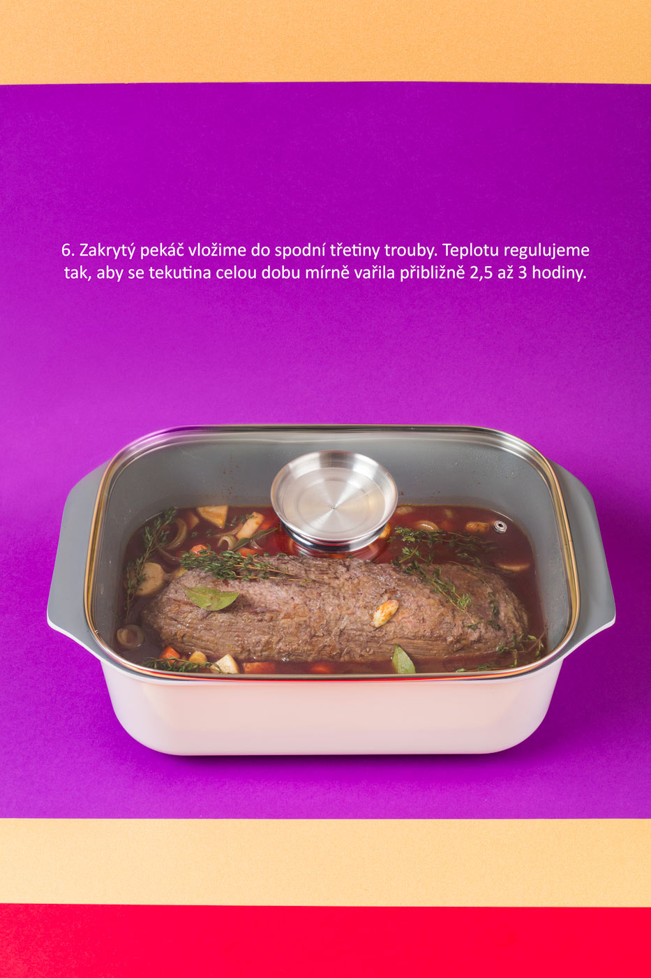 Recipe image of beef bourguignon, promoting the Lamart brand cookware