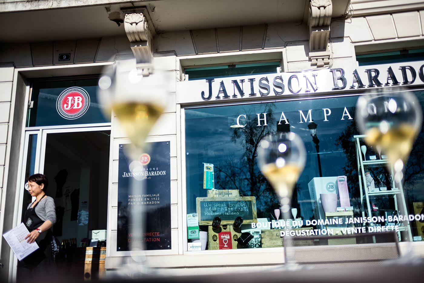 A french champagne shop in the French Champagne region