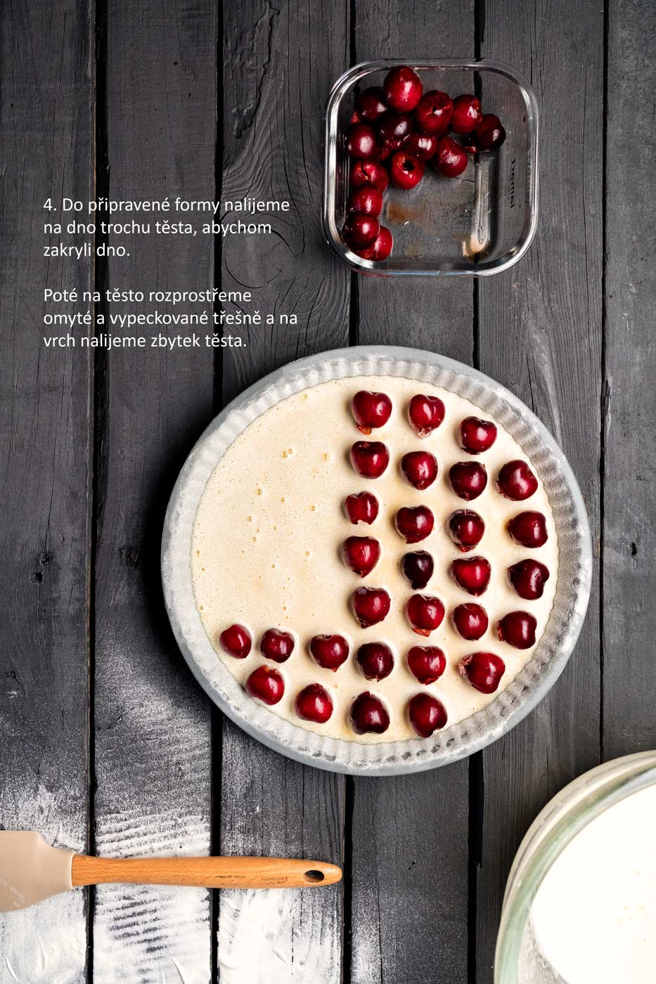 Step by step recipe image of cherry cake, promoting the Lamart brand cookware