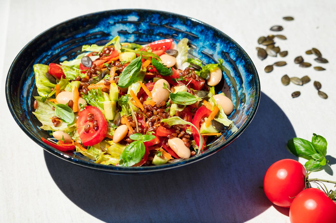 Recipe image of salad with tomatos and beans